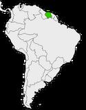 Mapa de Surinam en Sudamérica
