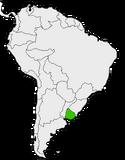 Mapa de Uruguay en Sudamérica