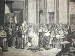 Grabado del matrimonio de Antonio II de Ecuador y Eulalia de Borbón