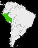 Mapa de Perú en Sudamérica