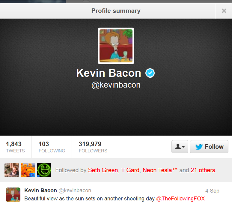 7607074d07f The real Kevin Bacon would adopt the image of Roger dressed as him as his  Twitter avatar.