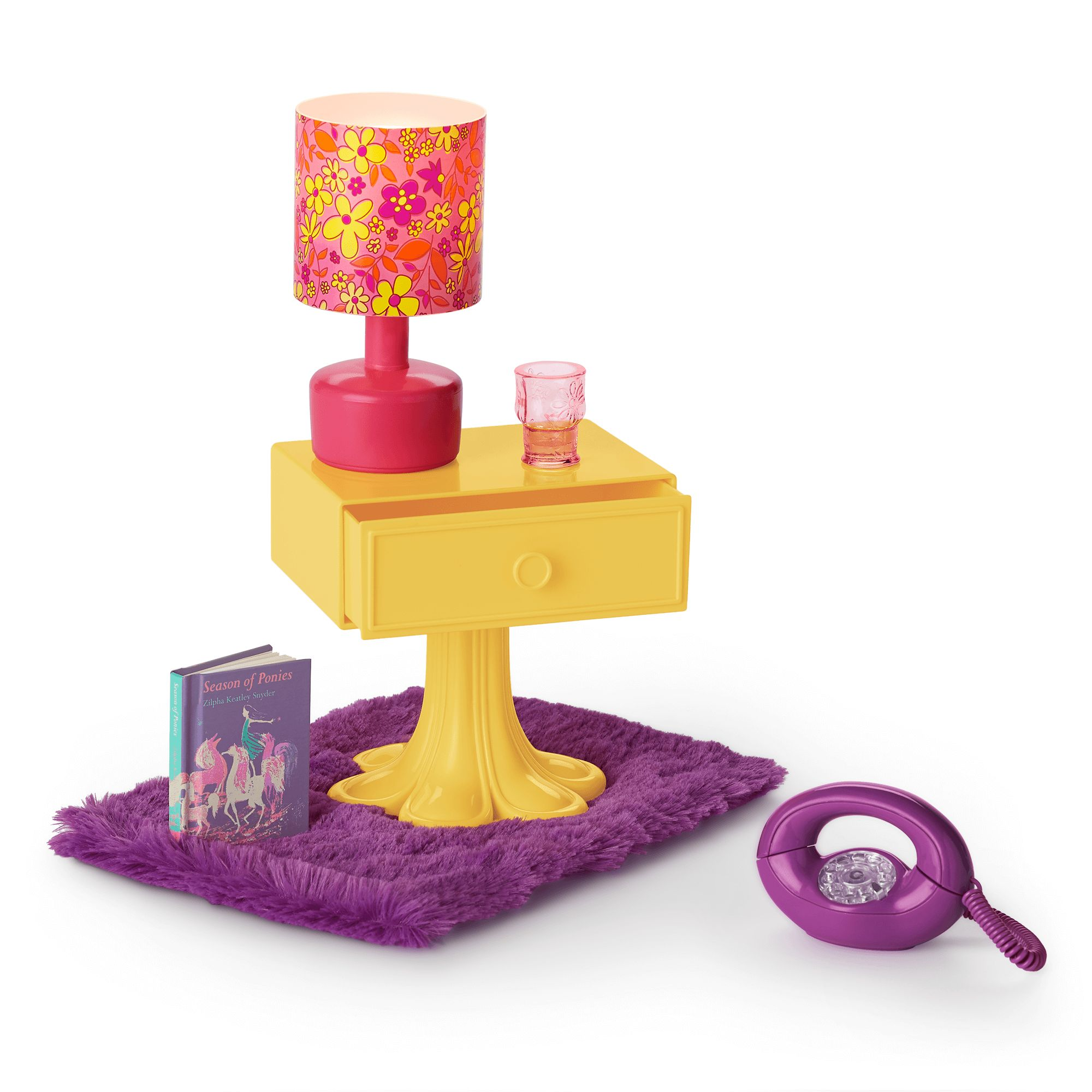 Julie S Bedside Table And Shag Rug American Wiki