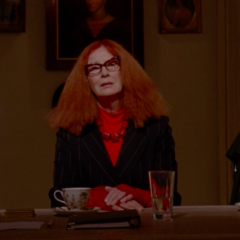 Myrtle working as Head of the Witches' Council