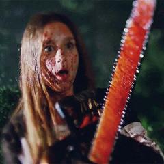 Zoe killing a zombie army