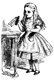 Alice holding the Drink Me potion