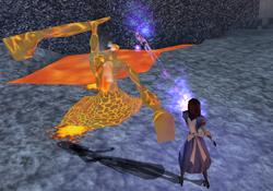 Alice battles Lava Man