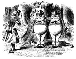 Alice meeting Tweedledum and Tweedledee