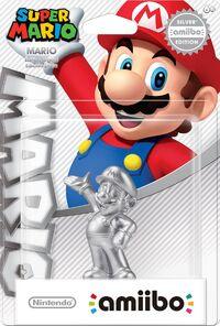 Embalaje americano del amiibo de Mario - Edición plata - Serie Super Mario
