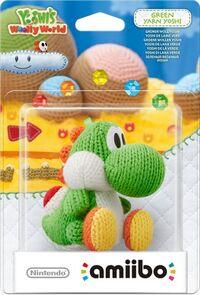 Embalaje europeo del amiibo de Yoshi de lana verde - Serie Yoshi's Woolly World