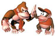 Art oficial de Donkey Kong y Diddy Kong en Donkey Kong Country