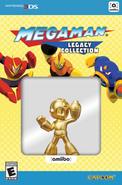 Pack del juego Mega Man Legacy Collection y el amiibo de Mega Man dorado
