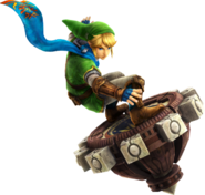 Link usando un aerodisco - Hyrule Warriors
