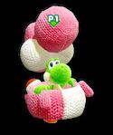 Atuendo de manualidad de Yoshi de lana rosa - Yoshi's Crafted World