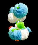 Atuendo de manualidad de Yoshi de lana azul claro - Yoshi's Crafted World