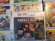 Copia física de Minecraft New Nintendo 3DS Edition con el ícono de amiibo