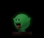 Amiibo de Boo brillando en la oscuridad - Serie Super Mario