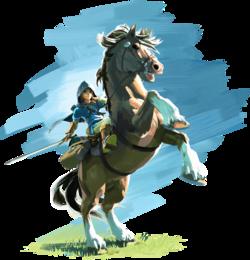 Artwork Link con caballo BotW