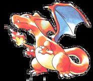 Artwork de Charizard en los primeros juegos de Pokémon