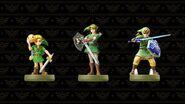 Imagen promocional de los amiibo de Link (Majora's Mask, Twilight Princess y Skyward Sword)