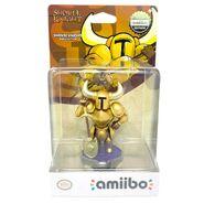 Caja del amiibo dorado de Shovel Knight mostrada por GameStop