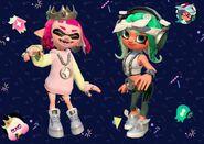 Imagen oficial de la indumentaria de los amiibo de Perla y Marina en Splatoon 2