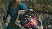Escudo hyliano y túnica del elegido y Espada Maestra de cerca - The Elder Scrolls V Skyrim