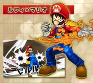 Disfraz de Mario para Luffy - One Piece - Super Grand Battle! X