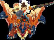 Rathalos, Jinete hombre y Jabiru en Monster Hunter Stories