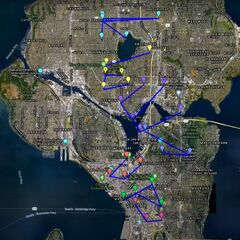 A map of downtown Seattle with the word