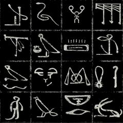 All chalk hieroglyphs & symbols.