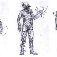 Concept stages of the Grunt with different arms.
