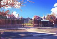 Exterior do campus com ônibus
