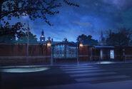 Campus exterior ônibus noite