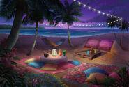 Beira da praia descanso (noite)