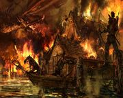 Azugon burning the capital