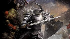 Two powerful orcs fight