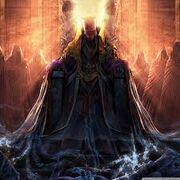 Azugon sitting on throne