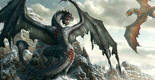 640x331 2169 War of Dragons 2d fantasy dragons battle mountains picture image digital art