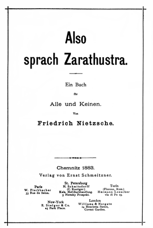 Also sprach Zarathustra original title page