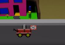 Mr Hitler outside Snospis House
