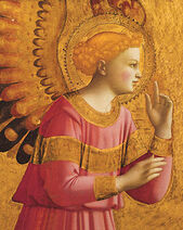 Fra Angelico-Annunciatory Angel-detail
