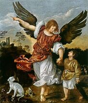 "Archangel Raphael ""It is God Who heals"" Depicted here by Titian. He is mentioned in the Book of Enoch and the Apocryphal Book of Tobit"