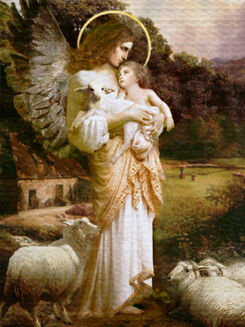 An angel with a baby and lamp
