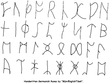 Handwritten Germanish Runes