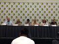 Gregg Berger with Mark Evanier, Sandy Schnarr, Cathey Lizzio, Bill Farmer, & Vanessa Marshall - SDCC 2014.jpg