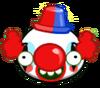 Свинья с веснушками в костюме клоуна