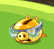 Smutny Golden Pig w okularach