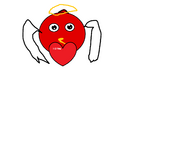 Chibi hearts angel red bird