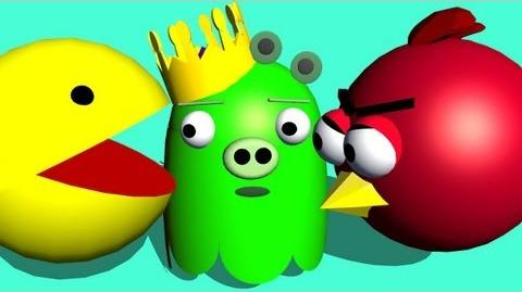 PACMAN starring Angry Birds ♫ 3D animated game mashup ☺ FunVideoTV - Style;-))