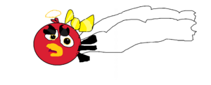 Angel Red Bird With Yellow Bow
